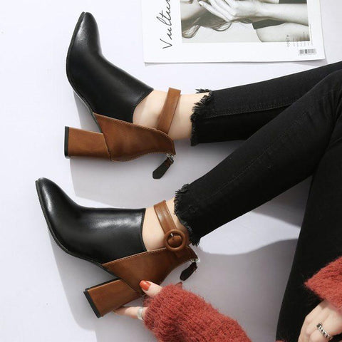 Back Zip Chunky Heel Color Block Pointed Toe Buckle Cotton Boots
