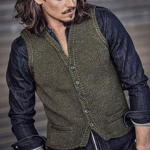 Simple Slim Single-Breasted Knitted Vest