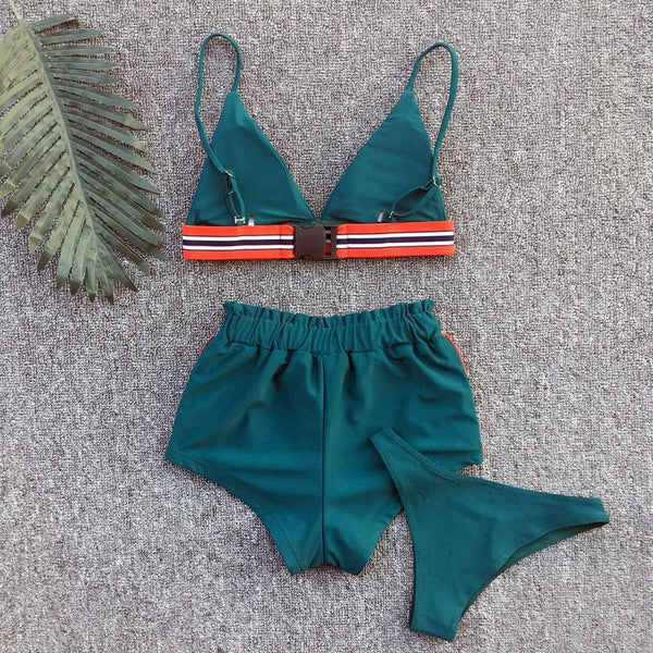 Sexy Bikini Solid Color Three-Piece Split Swimsuit