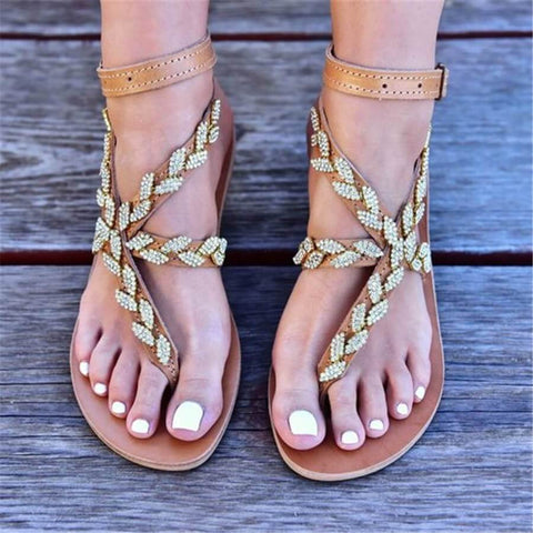 Fashion Wild Rhinestone Toe Flat Sandals