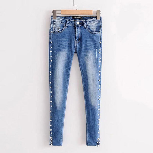 Mid Waist Bead Denim Women's Pants