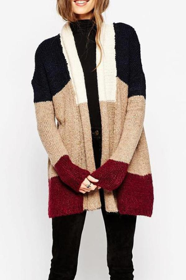 Snap Front  Patchwork Cardigans