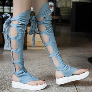 Denim Thong Over-the-knee Sandals
