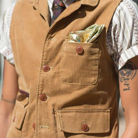 Casual Corduroy Single-Breasted Lapel Vest