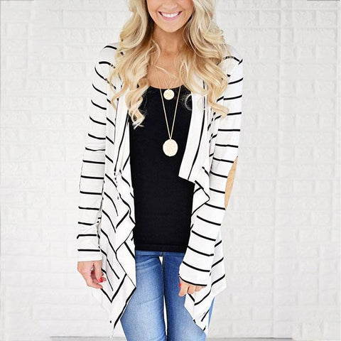 Autumn And Winter Splice Striped Cardigan Coat