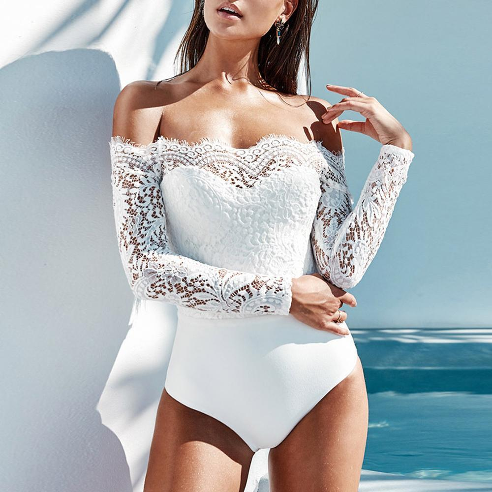 Lace Splicing Off Shoulder Panel Long sleeve Romper Bodysuit