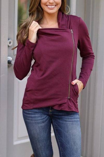 Fold Over Collar  Zipper  Plain Cardigans