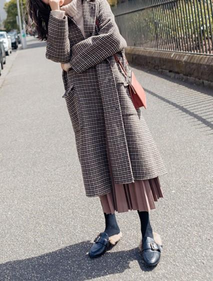 Casual Shown thin   houndstooth Plaid long Wool coat