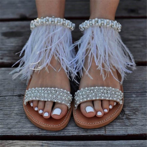 Fashion Vintage Rhinestone Feather Flat Sandals