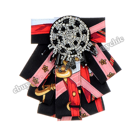 Bow Brooches For Women Shirt Dress Fashion Collar Jewelry Canvas Ties Broche Tassel Brooch Pins Collier