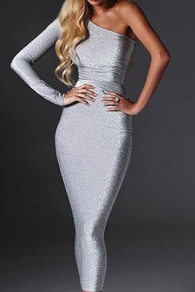 One Shoulder Backless Cutout  Shimmering Powder  Plain Evening Dresses