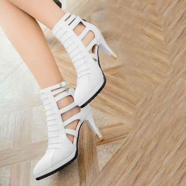 Spool Heel Heel Covering Zipper Closed Toe Plain Buckle Sandals
