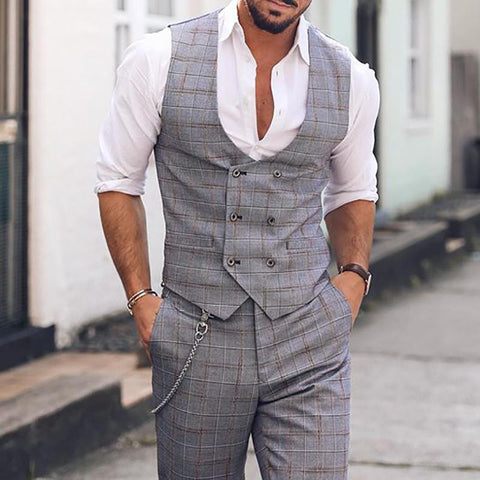 Gentleman Business Check Double-Breasted Vest