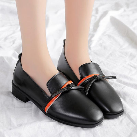 Square Toe Bowknot Slip On Casual Women's Loafers