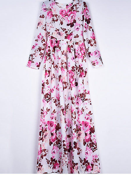 Fashion Round Neck High-Waist Printed Colour Maxi Dresses