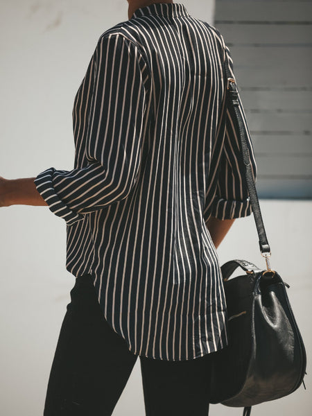 Casual Striped V Neck Long Sleeve Shirt