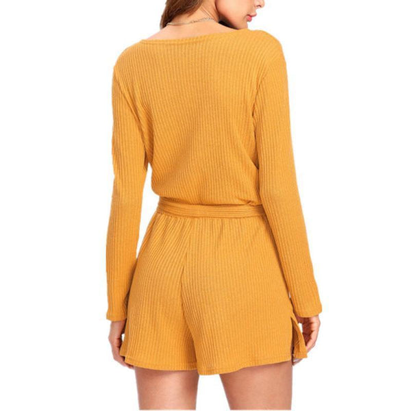 Long-Sleeved Slim Sexy Deep V Collar Playsuit With Belt