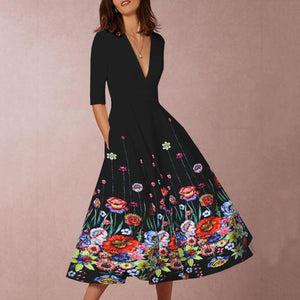 EBUYCHIC Deep V-Neck Floral Printed Skater Dress