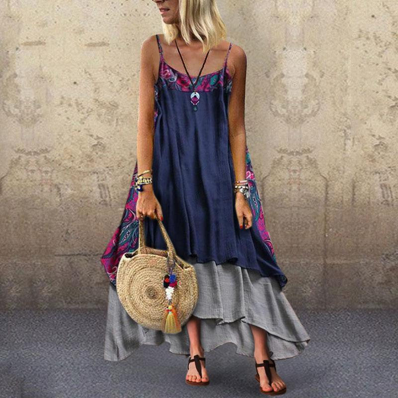 National Wind Printing Splice Strap Casual Dress