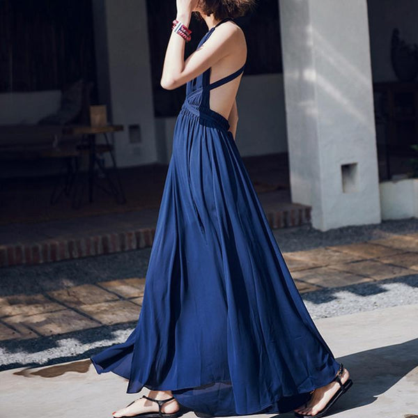 Bohemian V Neck Chiffon High-Waist Pleated Pure Colour Off-Shoulder Dress