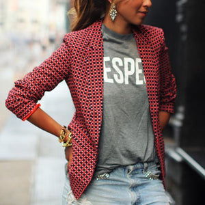 Notch Lapel  Plaid Blazers