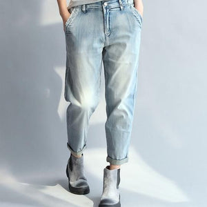 Plus Size Mid Waist Denim Women's Pants