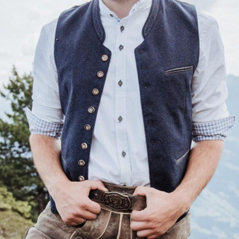British Style Solid Color Single-breasted Men's Vest