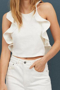 Sexy Sleeveless Off-Shoulder Bare Back Ruffled Belted Pure Colour Tops T-Shirt