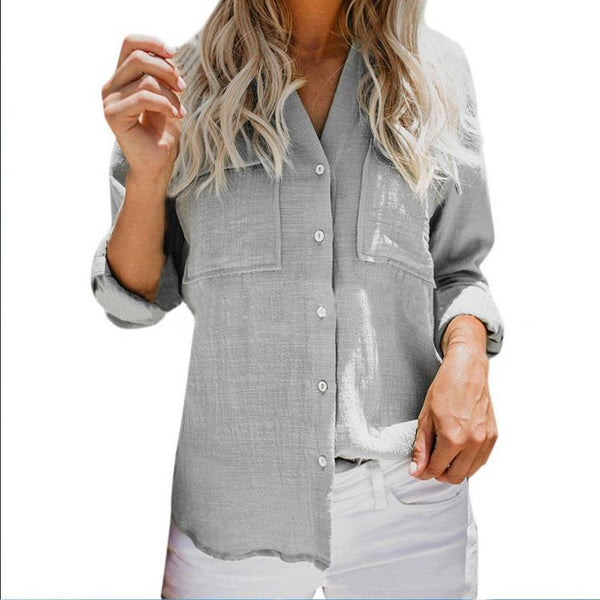 Casual Pure Colour Long Sleeve Shirt
