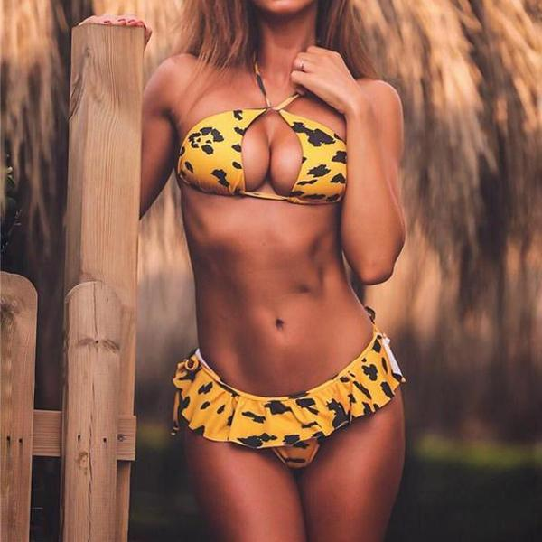 Vacation Sandbeach Sexy Leopard Print Swimsuits Bikini