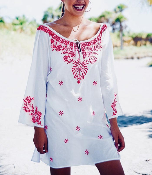Casual Embroidery Long Sleeve Vacation Shirt