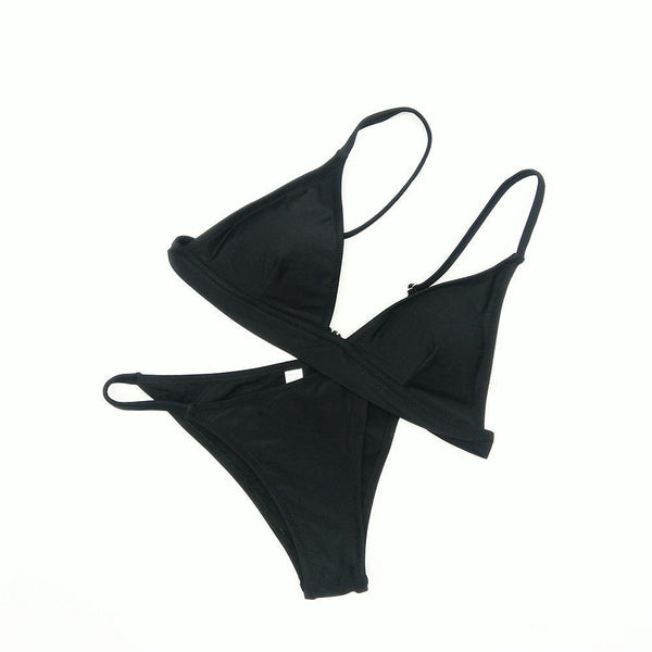 Sexy suspender bikini three-point split swimsuit
