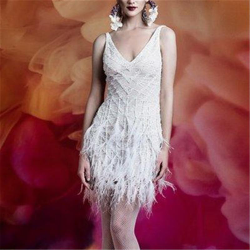 Elegant V-neck Strap Fringed Solid Dress