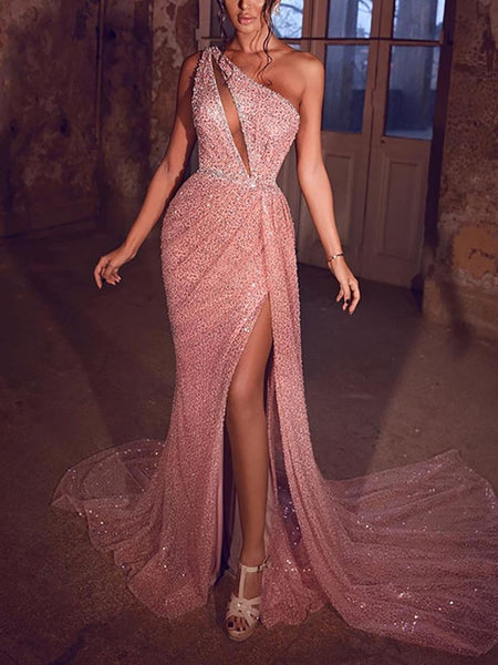Fashion Open-Shoulder High Fork Sequin Evening Dress