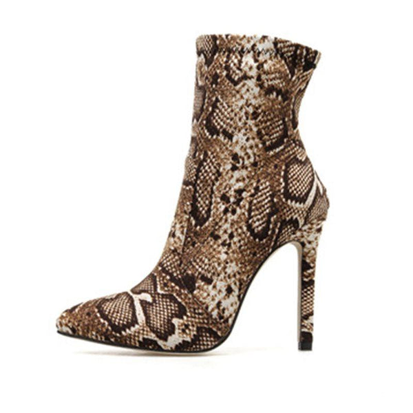 Stiletto Heel Slip-On Pointed Toe Short Floss Serpentine Boots