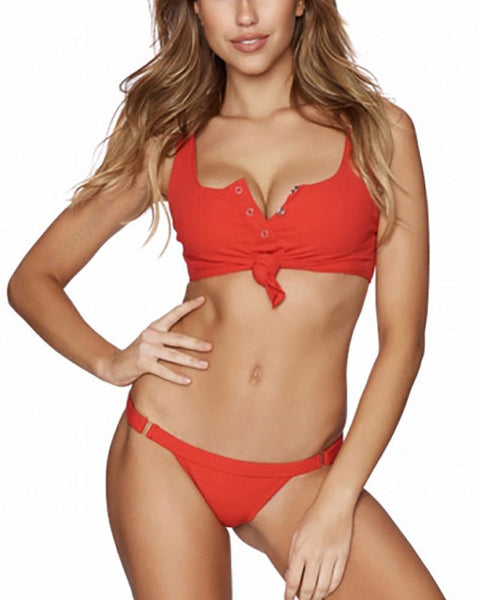 Solid Color Backless Fashion Sexy Split Bikini