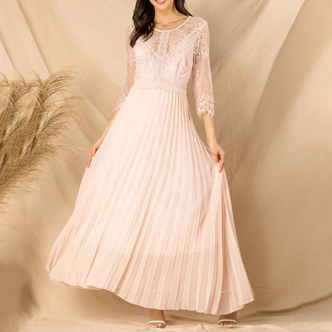 Round Neck Sleeves Chiffon Pleated Maxi Dress