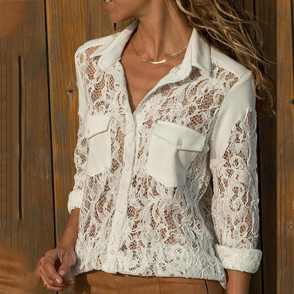Fashion Lace See-Through Long Sleeve Knitted Shirt