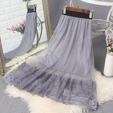 Women Skirt Casual Autumn Winter Metallic Satin Pleated Skirt