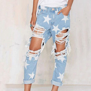 Mid Waist Print Hole Denim Women's Pants