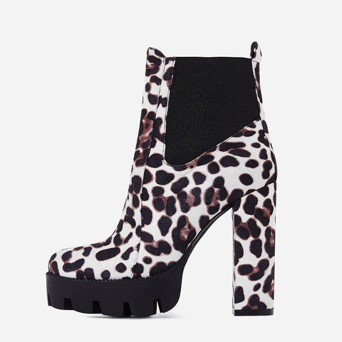 Leopard Chunky Heel Side Zipper Round Toe Thread Western Boots