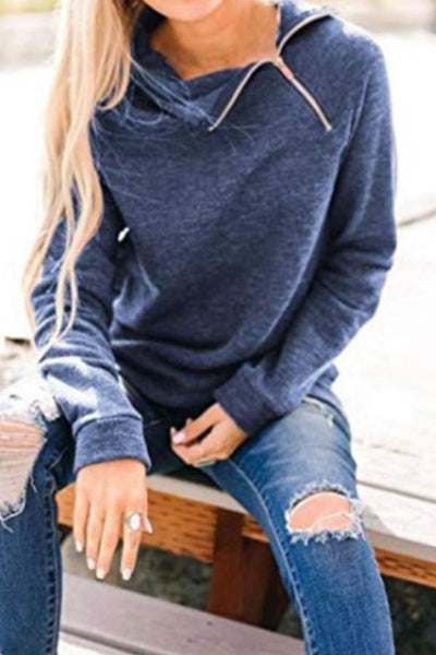 High Neck  Zipper Plain Sweatshirts
