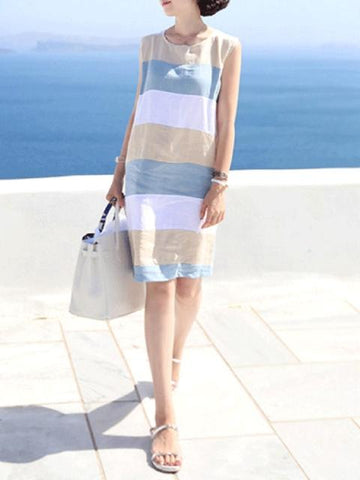 Women Blue Shift Daytime Casual Sleeveless Color-block Dress