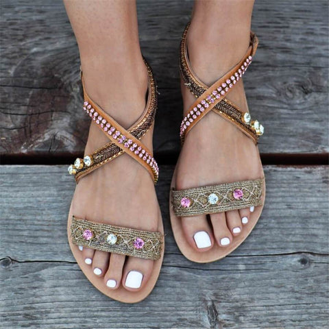 Fashion Vintage Rhinestone Flat Sandals
