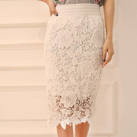 Casual Lace High-waist Hollow Out Skirt