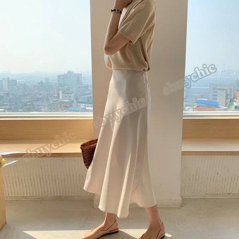 Korean Casual Women Silk Women Elegant Satin Long Office Lady High Waist Bodycon Skirt