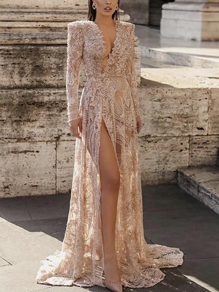 Sexy Floral Lace High Slit Long Sleeve Dress