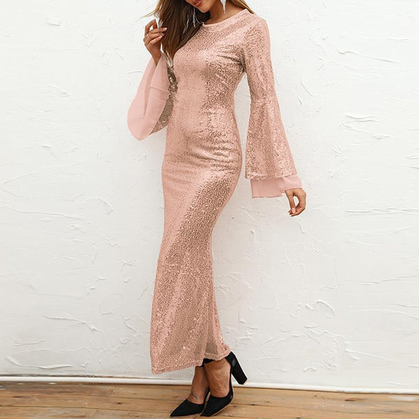 Chiffon Patchwork Sequined Flared Sleeve Dress