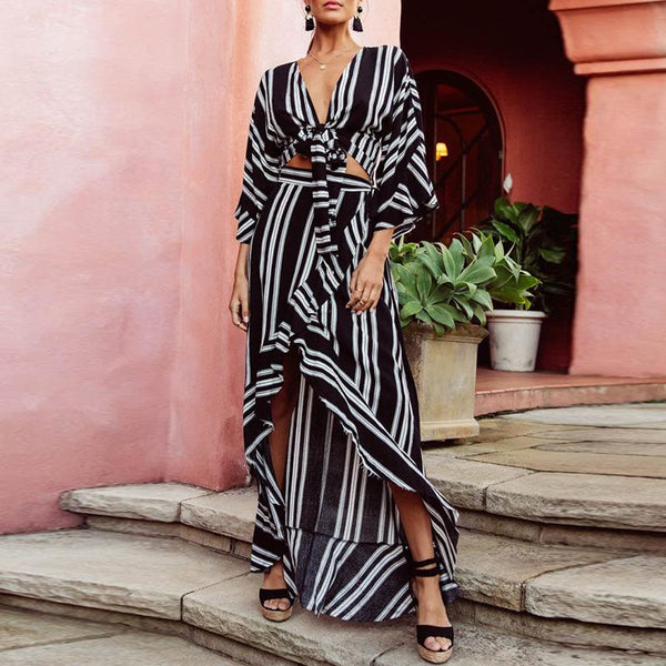 Fashion Striped Loose Slit Belted Maxi Dresses