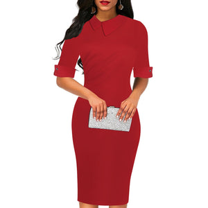 Fashion Pure Colour Halflong Sleeve Pencil Dress